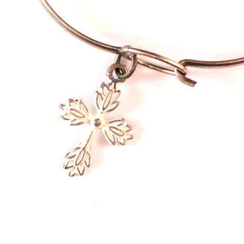 Floral Cross Charm Bracelet, Necklace, or Charm Only