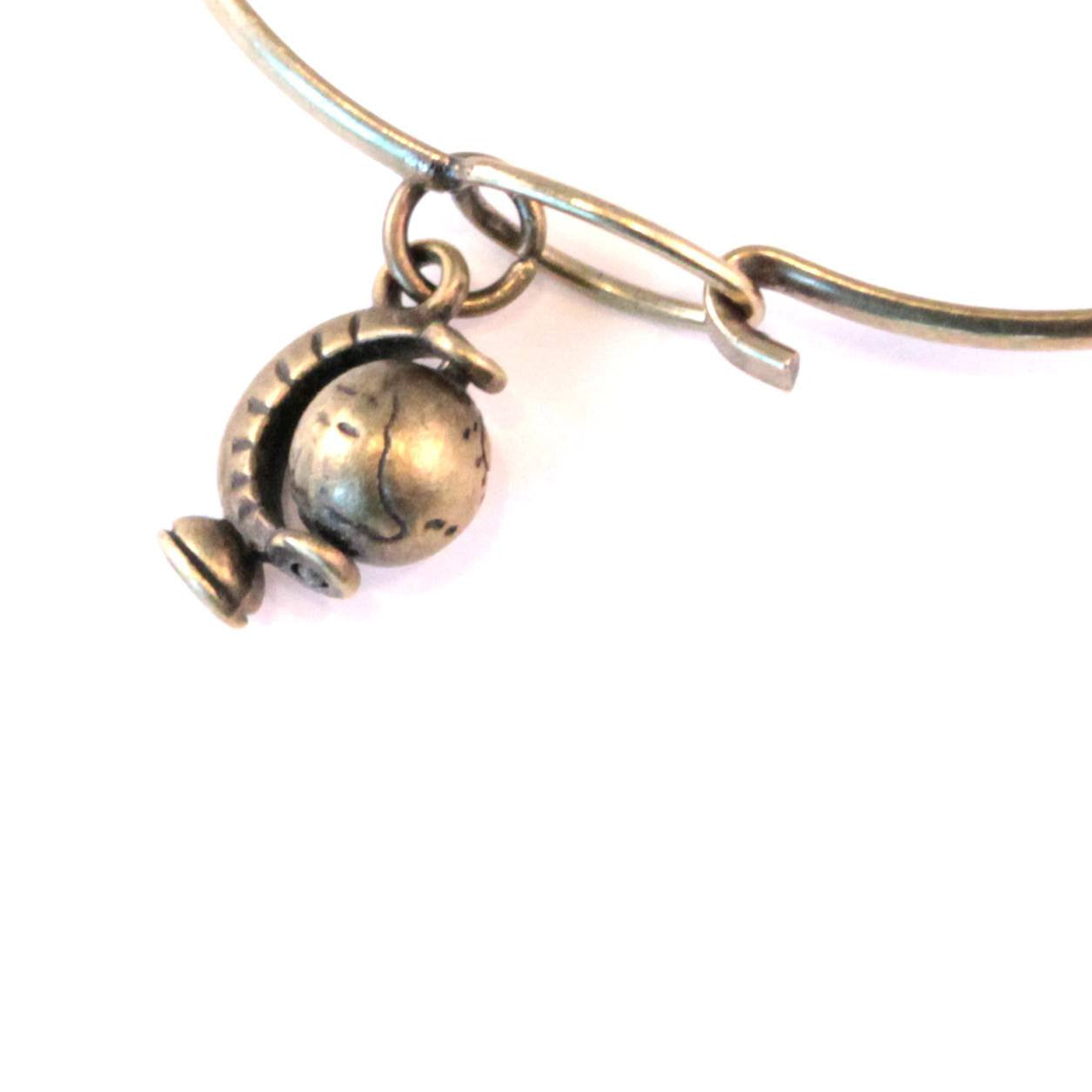 Globe Charm Bracelet, Necklace, or Charm Only