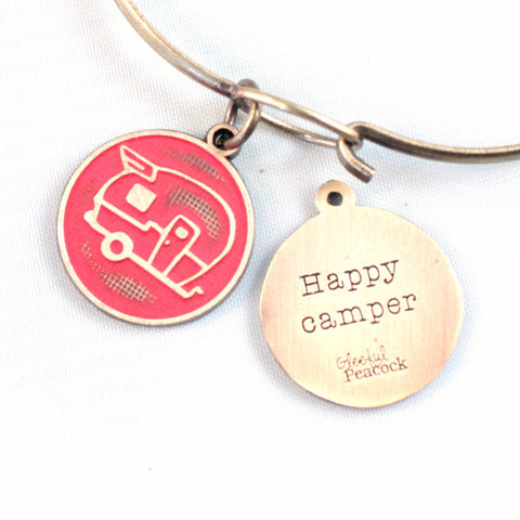Happy Camper Token Charm Bracelet, Necklace, or Charm Only