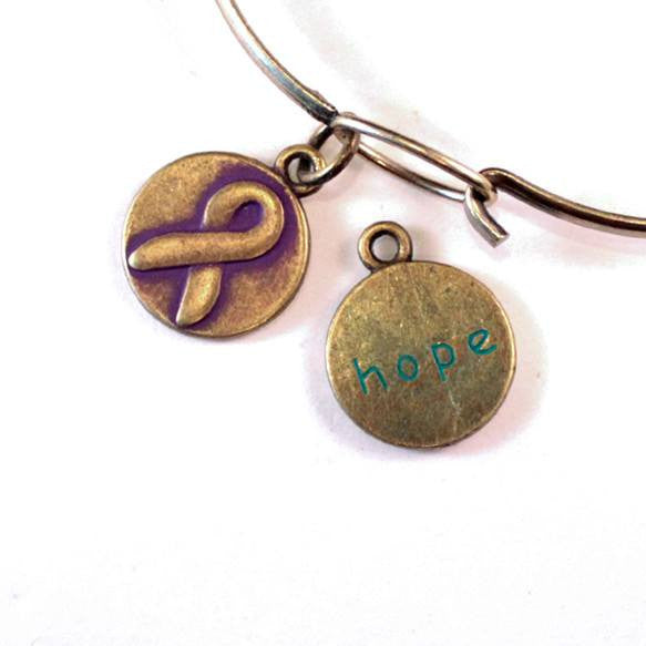 Hope Ribbon Charm Only, Bracelet or Necklace