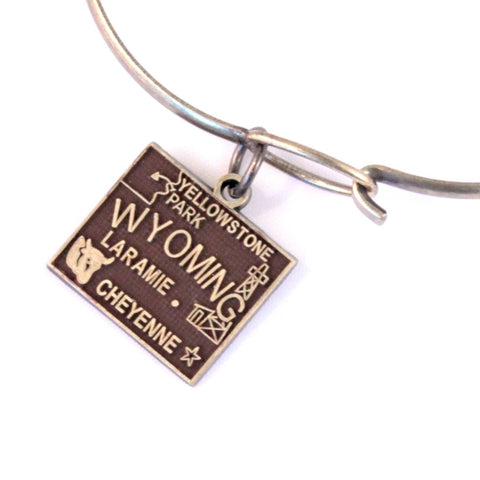 Wyoming State Love Charm Bracelet or Necklace