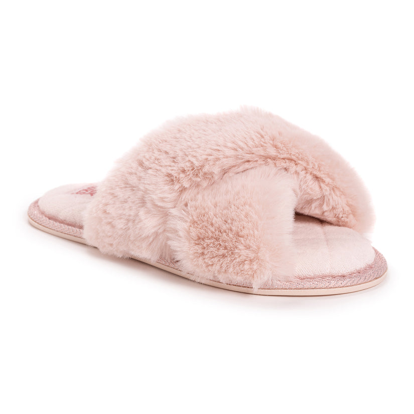 Muk Luks: Women's Perley Faux Fur Criss Cross Slippers! 2 for  (REG  for 2) at Proozy!