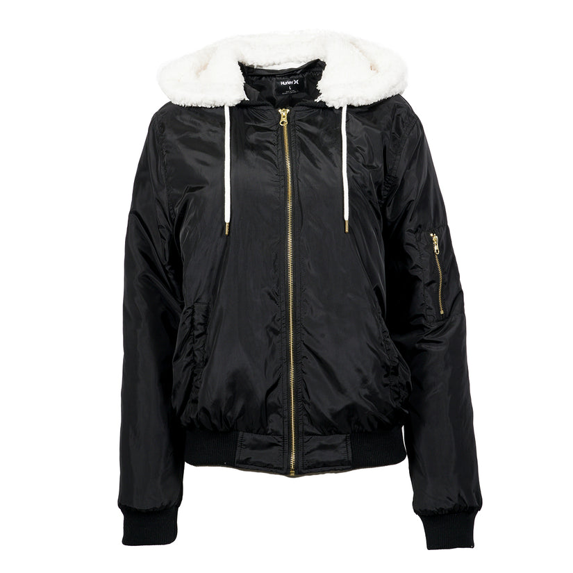 Hurley Womens Bomber With Sherpa Hood Jacket