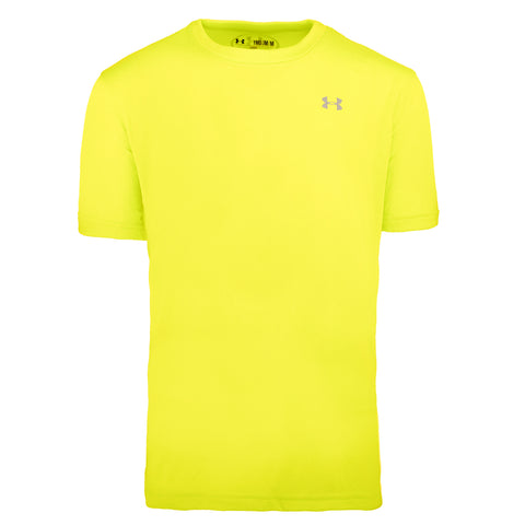 Under Armour Boys' UA Tech Mini Left Chest Logo S/S T-Shirt (Hazard Yellow/Steel)