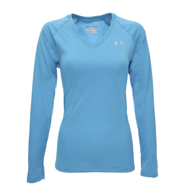 Cerulean/Steel Under Armour Women's T-Shirt Under Armour Women's UA Tech L/S Semi-Fitted V-Neck Tee at Proozy.com