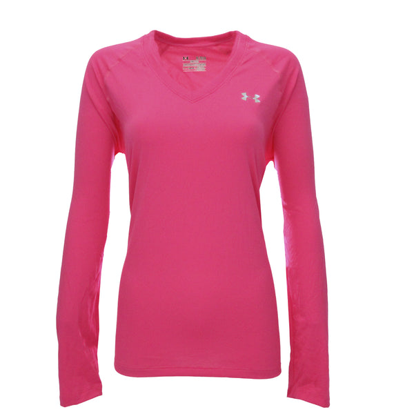 Hot Pink/Steel Under Armour Women's T-Shirt Under Armour Women's UA Tech L/S Semi-Fitted V-Neck Tee at Proozy.com