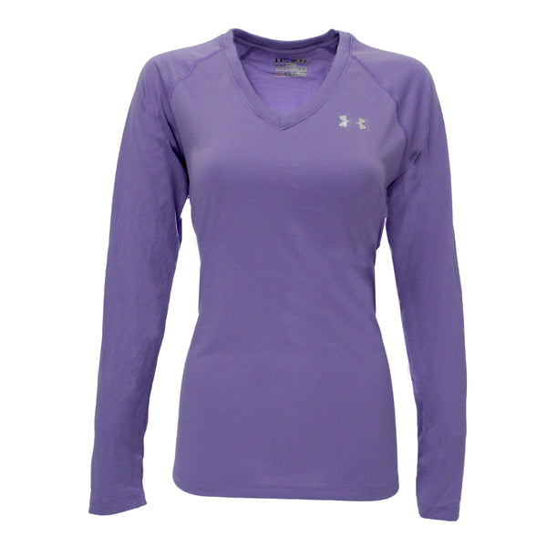 Lavender/Steel Under Armour Women's T-Shirt Under Armour Women's UA Tech L/S Semi-Fitted V-Neck Tee at Proozy.com