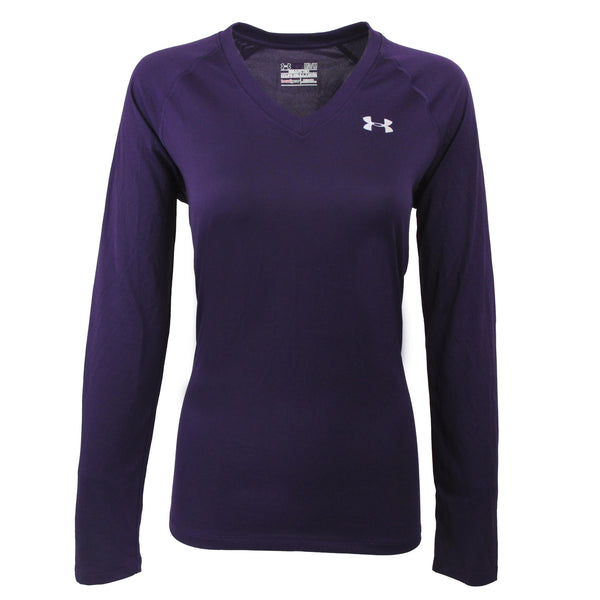 Violet/Steel Under Armour Women's T-Shirt Under Armour Women's UA Tech L/S Semi-Fitted V-Neck Tee at Proozy.com
