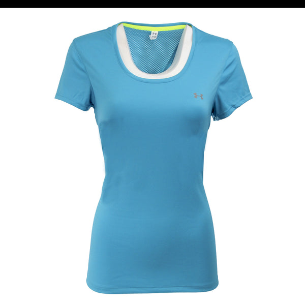 Turquoise/Steel Under Armour Women's T-Shirt Under Armour Women's UA Flyweight T-Shirt at Proozy.com