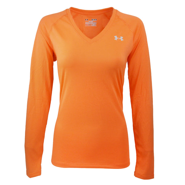 Neon Orange/Steel Under Armour Women's T-Shirt Under Armour Women's UA Tech L/S Semi-Fitted V-Neck Tee at Proozy.com