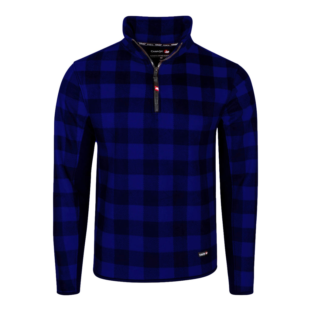 Canada Weather Gear Men's Buffalo Checker 1/4 Zip Colorblock