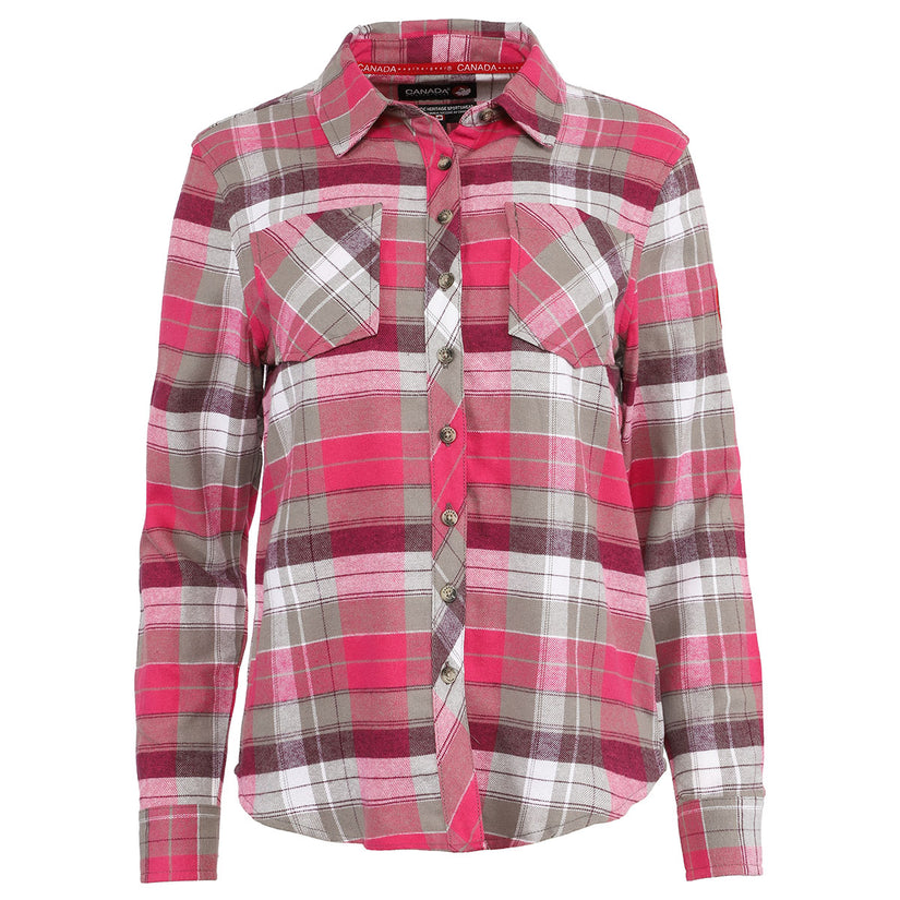 Canada Weather Gear: Women's 2 Pocket Plaid Button Up Long Sleeve Shirt! .99 (REG .00) at Proozy!