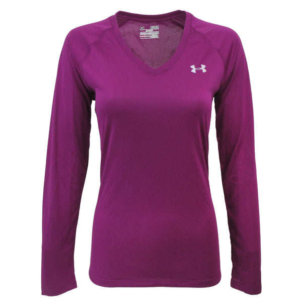 Mulberry/Steel Under Armour Women's T-Shirt Under Armour Women's UA Tech L/S Semi-Fitted V-Neck Tee at Proozy.com