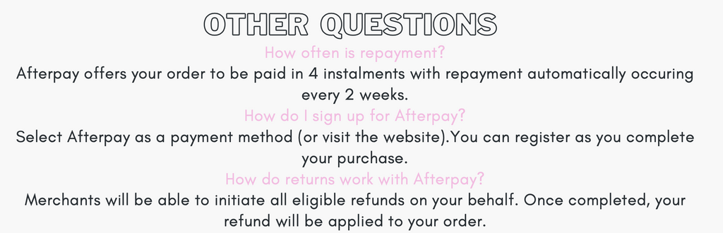 Frequently asked questions about Afterpay Question 2