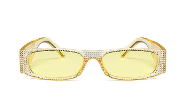 Chasing Sunsets Sun Glasses. Features rhinestone and yellow frame and lenses.This is the front display angle. Up your vacay style.