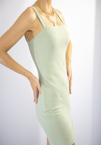 Eye Roll On Demand mini dress. Featuring a Thigh Slit and U neckline. This Olive Green material is soft and stretchy in material.