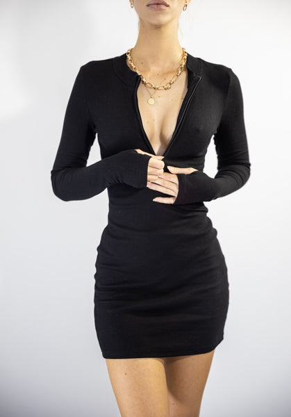 Charlies Angel Body Con Black Dress. Front Display Image.