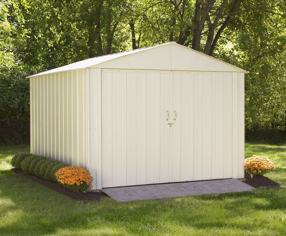 ARROW Commander 10' x 10' Steel Storage Building Shed Kit - Eggshell