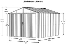 Load image into Gallery viewer, ARROW Commander 10' x 10' Steel Storage Building Shed Kit - Eggshell