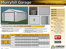 Load image into Gallery viewer, ARROW Sheds Murryhill 12' x 17' Metal Shed - Prefab Garage Kit - SKU BGR1217FG