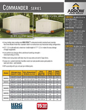 Load image into Gallery viewer, ARROW Commander Steel Storage Building Shed - 10' x 20' x 8' - DIY KIT