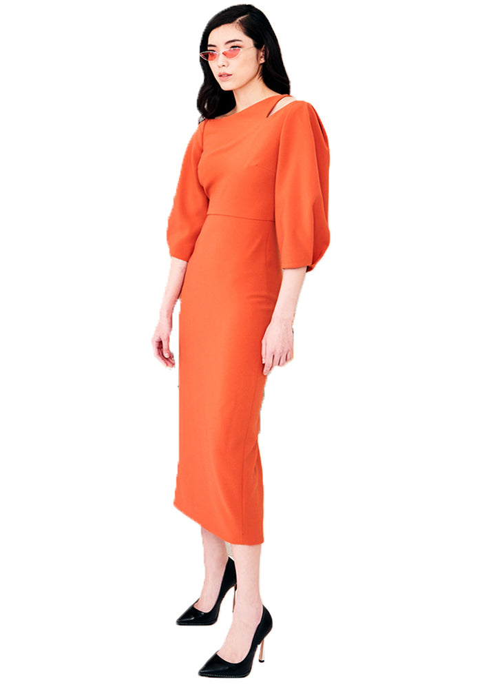 Cut-out Puff Sleeve Mid-length Dress