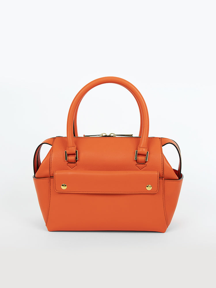 Small Convertible Top Handle Satchel - Tangerine