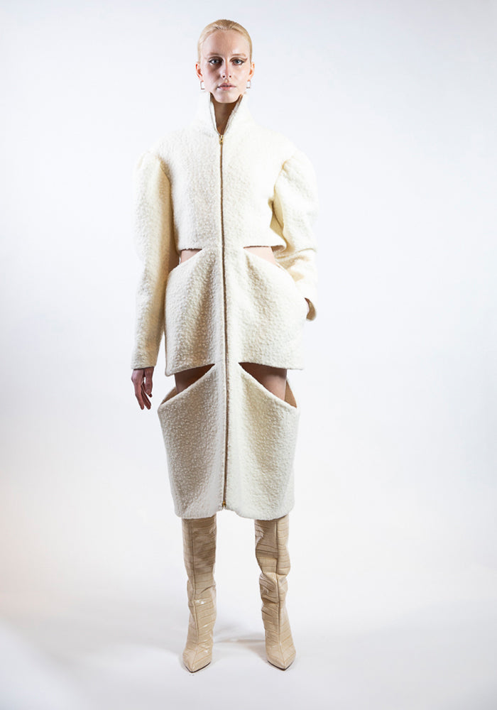 Ivory Boucle Cut-Out Mid-Length Coat
