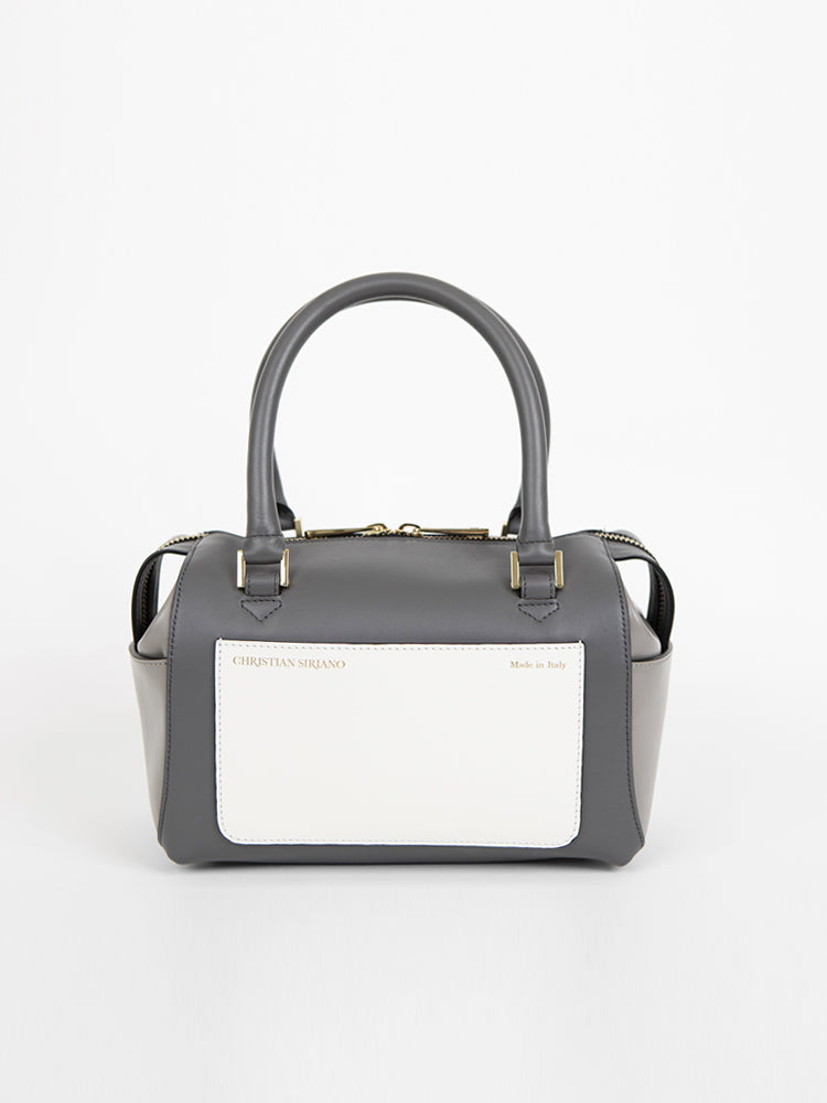 Small Convertible Top Handle Satchel - Slate/Graphite/White