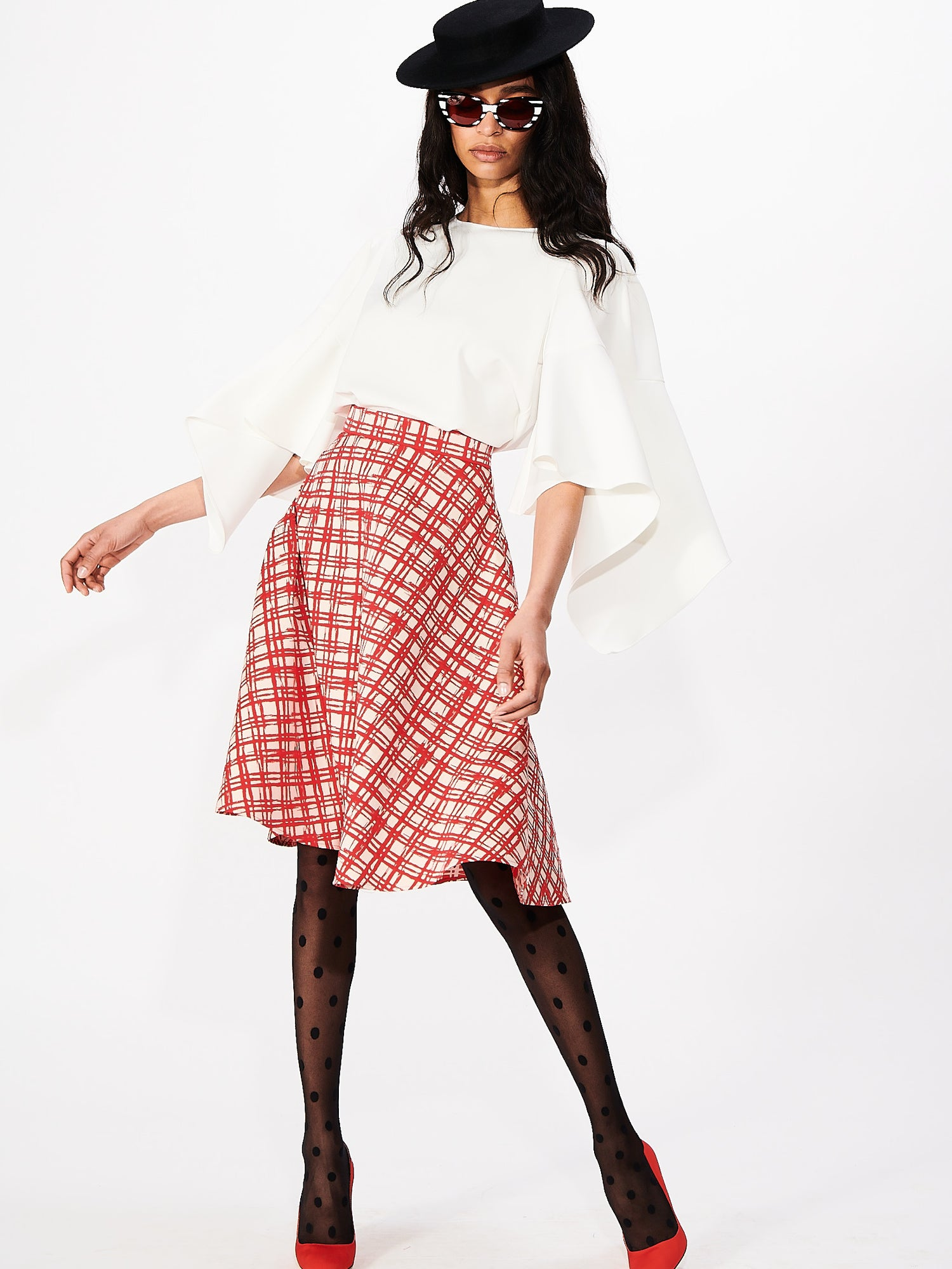 Gingham Swing Skirt in Picnic Red