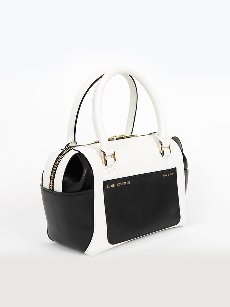 Small Convertible Top Handle Satchel - Black/White