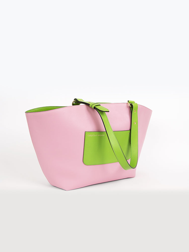 Large Top Handle Tote - Pink/Green