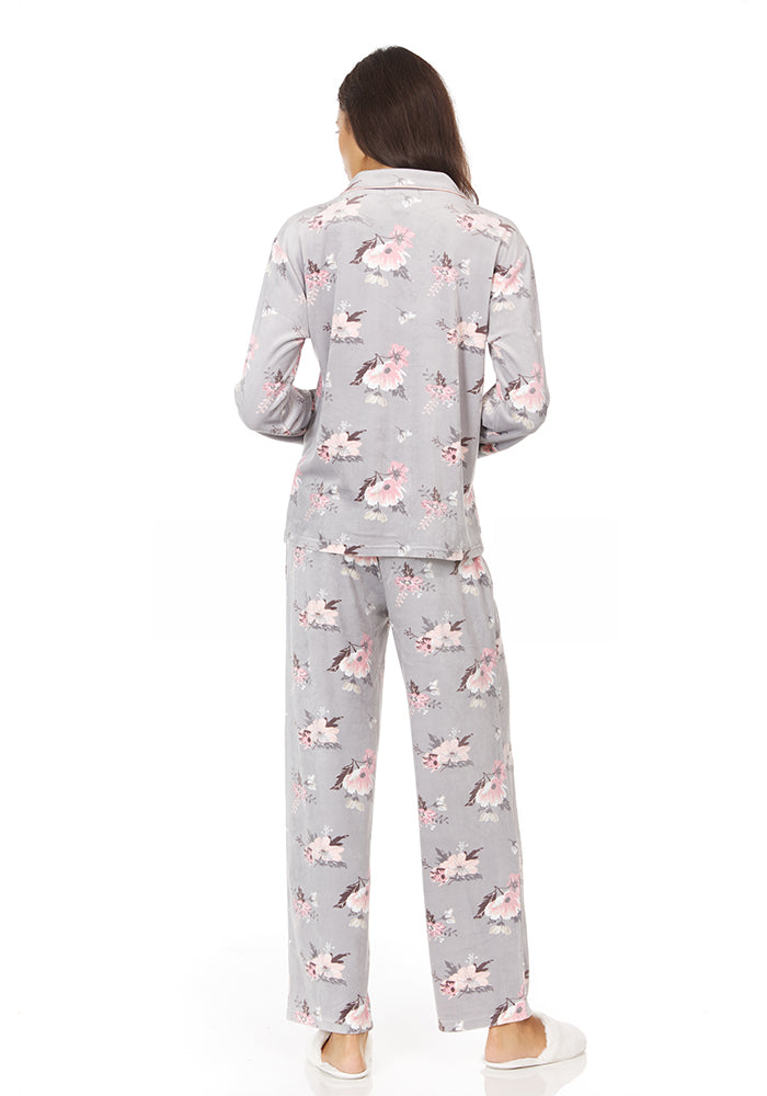 Gray Floral Notch Collar Pajama Set