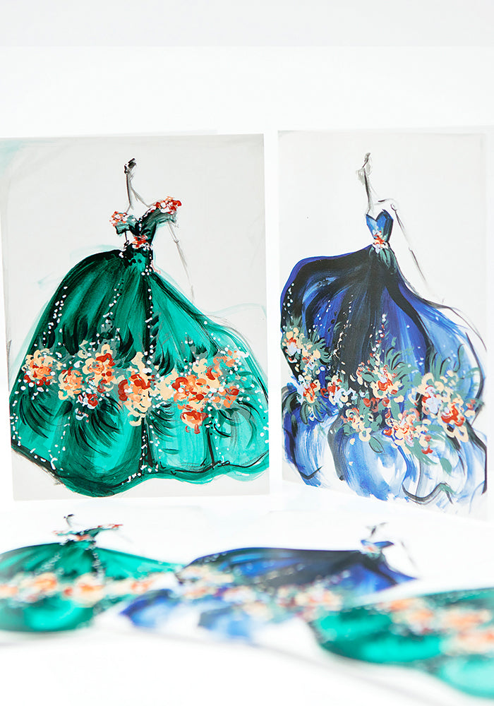 Signed Christian Siriano Holiday Sketch Cards Set - Blue and Green Series