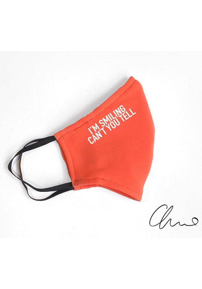 "Coral ""I'm Smiling Can't You Tell"" Fitted Mask"