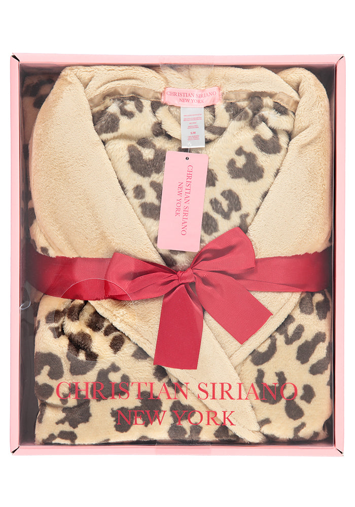 Cheetah Plush Robe Gift Set