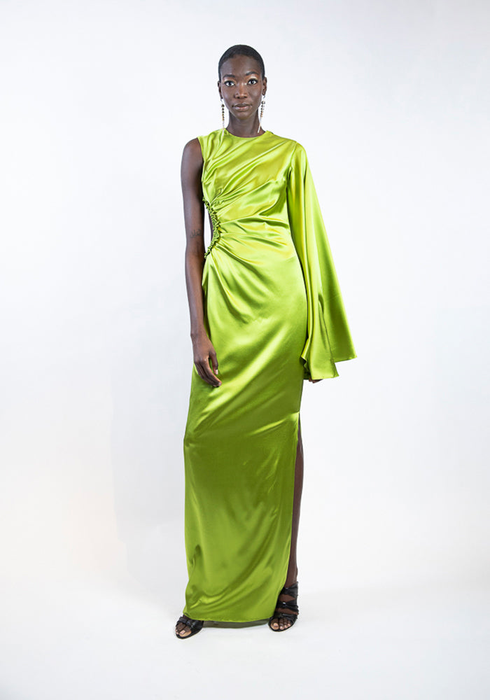 Glowing Green One Sleeved Cut-Out Gown