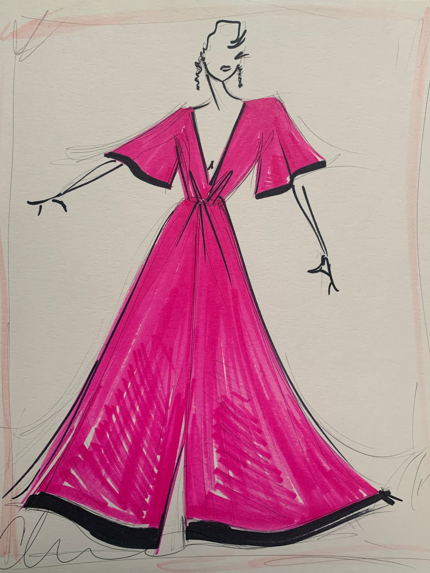 """Fuchsia Dolman Gown"" - Original Sketch"