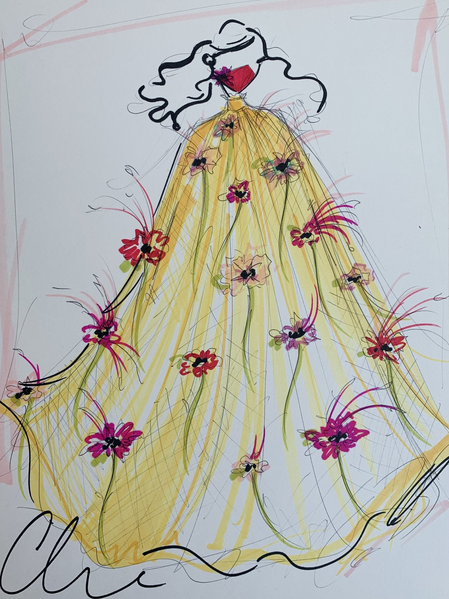 Daisy Dress - Collection 37 - Sketch Print