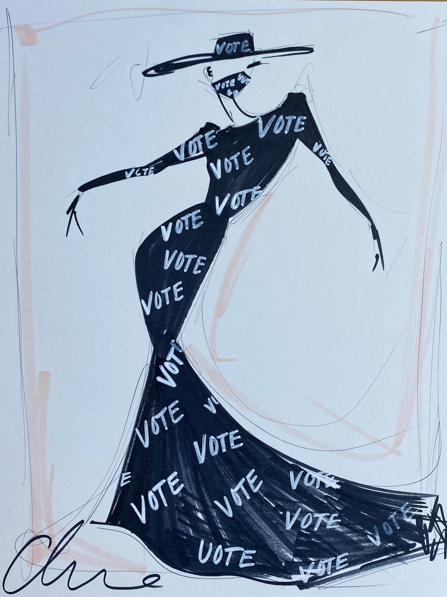 VOTE Gown - Collection 37 - Sketch Print
