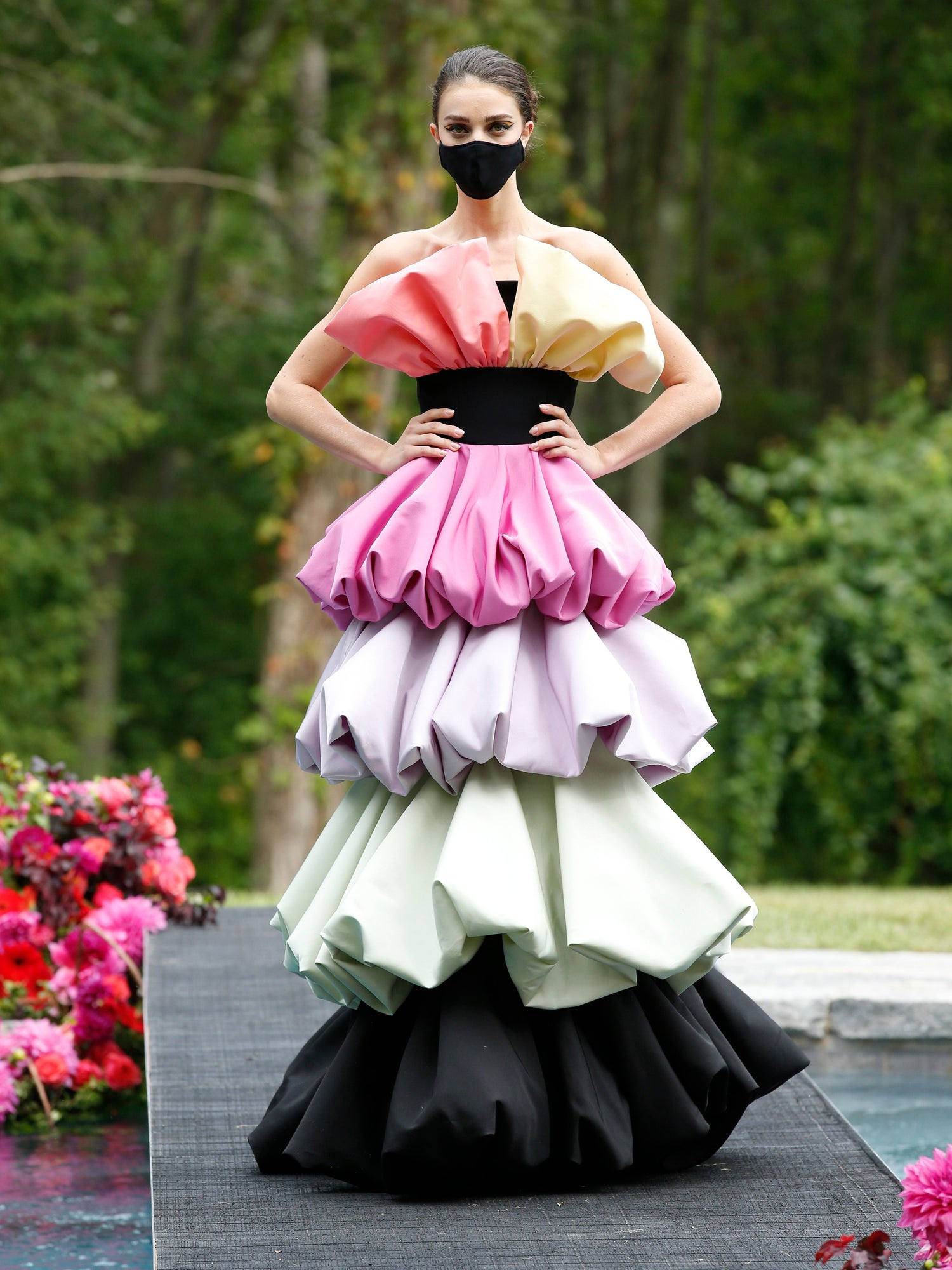 Multi Color Strapless Tiered Ruffle Gown