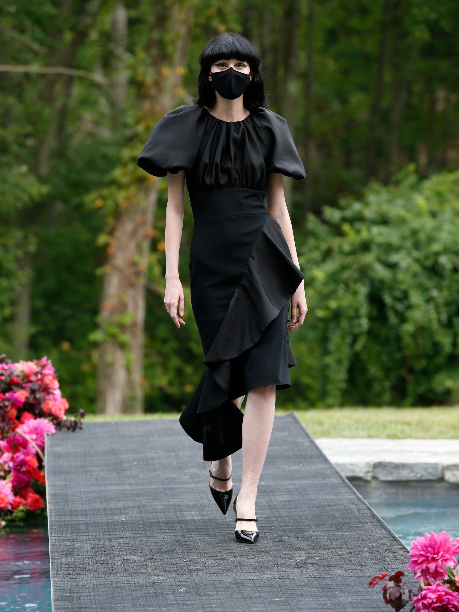 Black Puff Sleeve Dress with Ruffle Detail