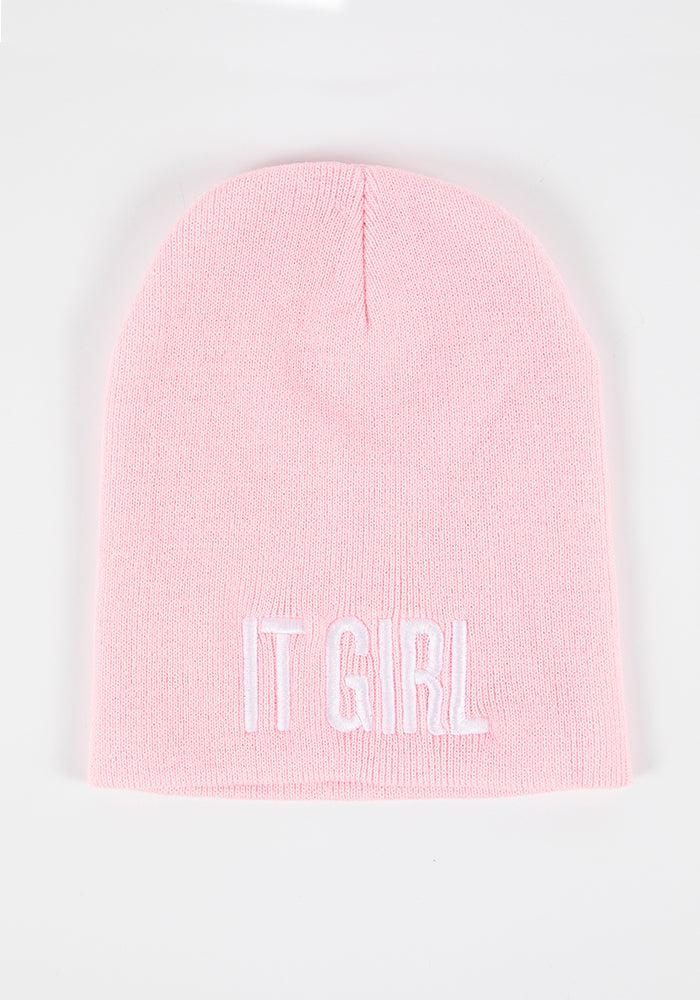 It Girl Embroidered Beanie - Blush