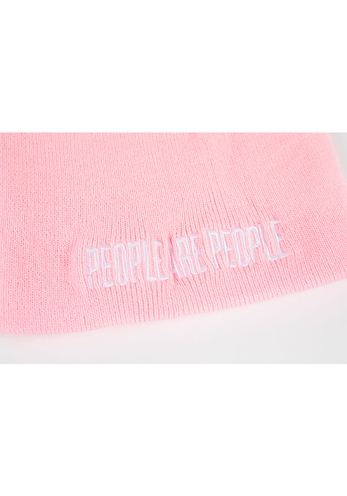 People are People Embroidered Beanie - Blush