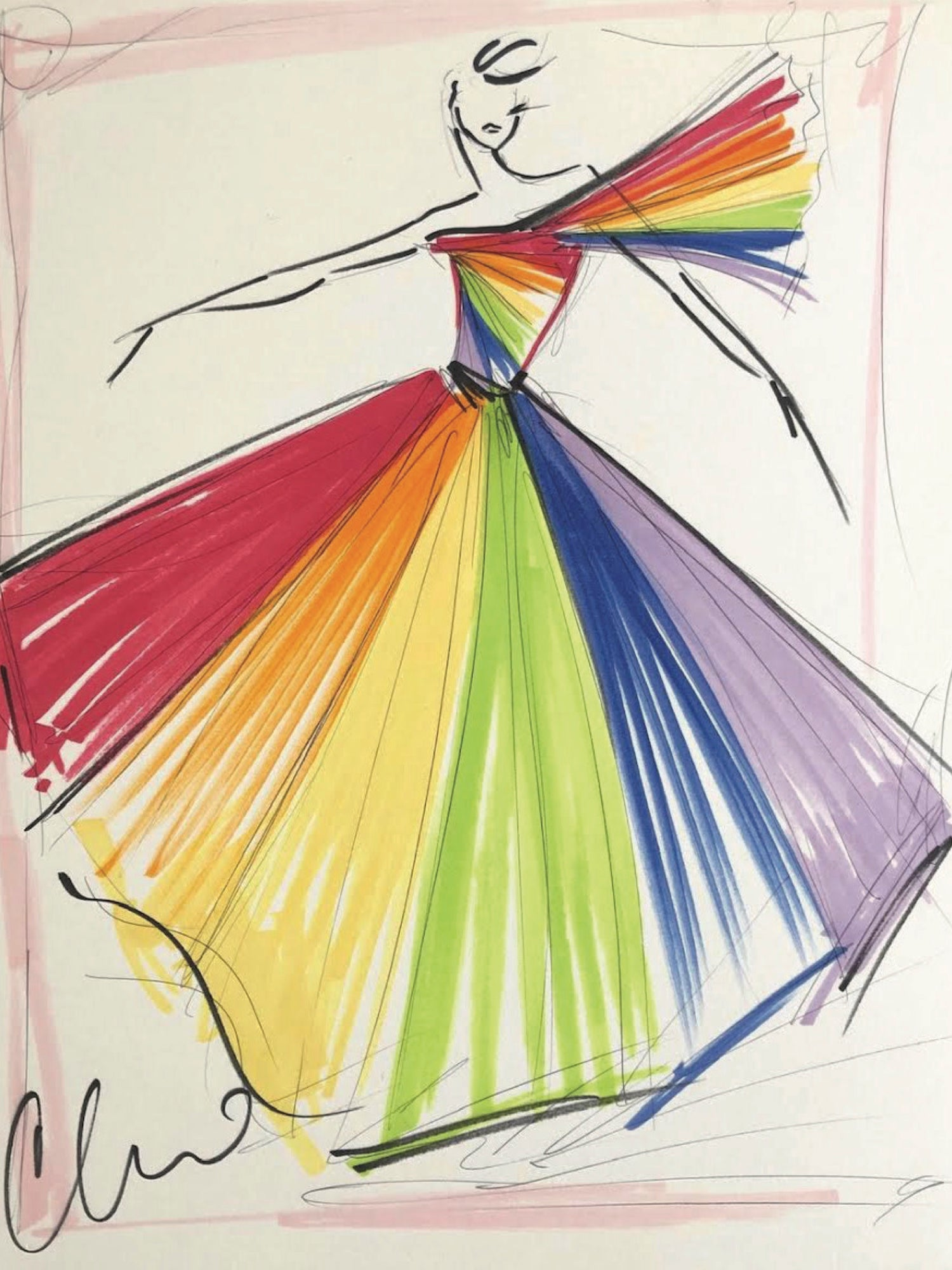 """Rainbow Pride Ball Gown"" - Sketch Print"