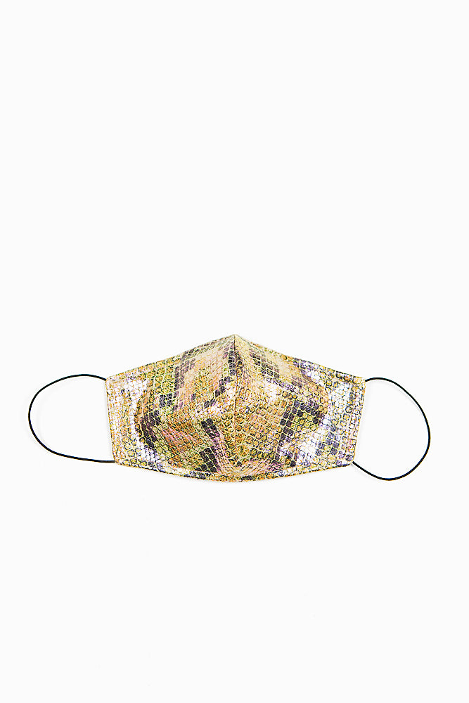 FALL 2021 LIMITED EDITION MASKS FROM THE RUNWAY - Iridescent Snake Print Mask