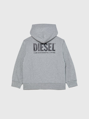 DIESEL BOYS SGIRKHOODZIP LOGO ZIP UP HOODIE GREY