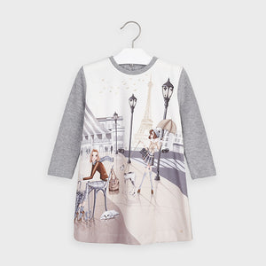 Mayoral 4987 Printed Paris Dress Silver