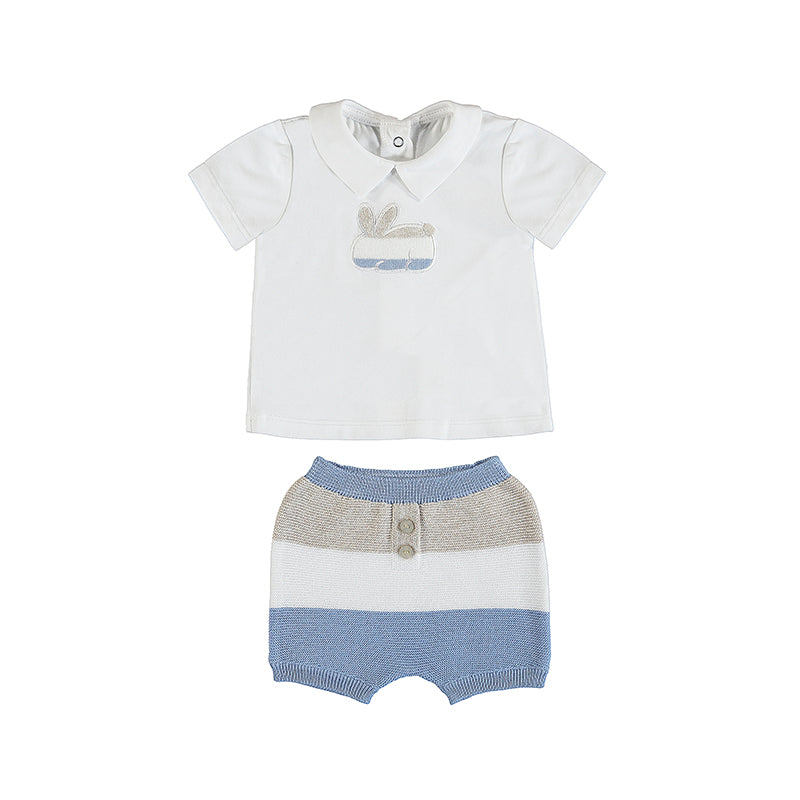 MAYORAL NEWBORN 1203 LIGHT BLUE SHORTS SET