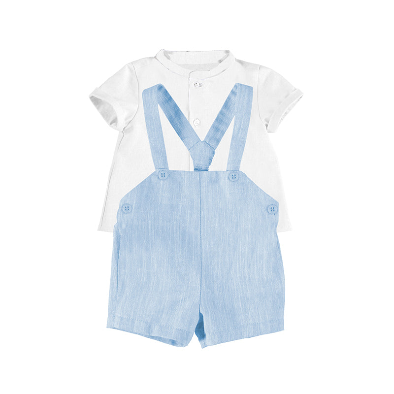 MAYORAL NEWBORN 1214 BLUE SHORTS WITH SUSPENDERS SET